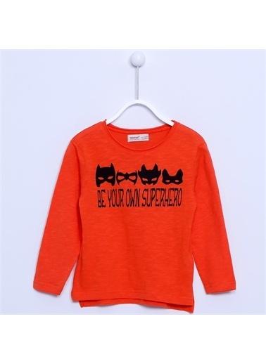 Silversun Kids Baskılı Uzun Kol Örme Tişört Bk 210687 Oranj